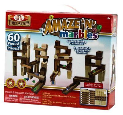 Конструктор - головоломка (Ideal Amaze 'N' Marbles 60 Piece Classic Wood) (фото, вид 3)