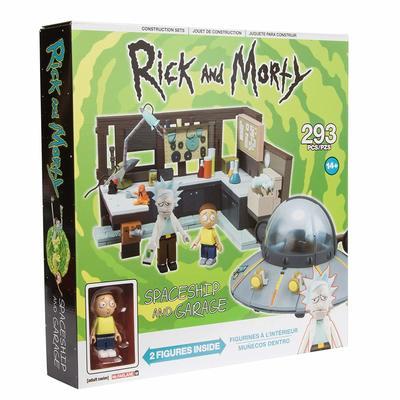 Большой космический корабль и гараж - Большой конструктор Рик и Морти (293 дет) (McFarlane Toys Rick & Morty Spaceship & Garage Large Construction Toy Set) (фото, вид 1)