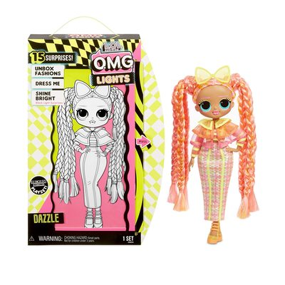 Кукла ЛОЛ Сюрприз! O.M.G. Стильная Дазл, светящаяся в темноте, с 15 сюрпризами (L.O.L. Surprise! O.M.G. Lights Dazzle Fashion Doll with 15 Surprises) (фото, вид 2)