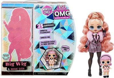 Кукла ЛОЛ Сюрприз О.М.G. Винте Чил Биг Виг с младшей сестренкой Мадам Квин и 25 сюрпризами (L.O.L. Surprise! O.M.G. Winter Chill Big Wig Fashion Doll & Madame Queen Doll with 25 Surprises) (фото, вид 1)