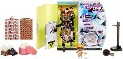 Кукла ЛОЛ Сюрприз О.М.G. Винте Чил Мисси Мяу с младшей сестренкой «Малышка Кэт» и 25 сюрпризами (L.O.L. Surprise! O.M.G. Winter Chill Missy Meow Fashion Doll & Baby Cat Doll with 25 Surprises) (фото, вид 2)