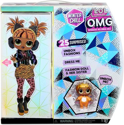 Кукла ЛОЛ Сюрприз О.М.G. Винте Чил Мисси Мяу с младшей сестренкой «Малышка Кэт» и 25 сюрпризами (L.O.L. Surprise! O.M.G. Winter Chill Missy Meow Fashion Doll & Baby Cat Doll with 25 Surprises) (фото, вид 4)