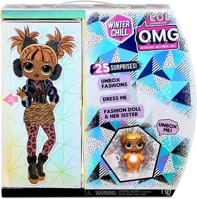 Кукла ЛОЛ О.М.G. Винте Чил Мисси Мяу с младшей сестренкой «Малышка Кэт» и 25 сюрпризами (LOL O.M.G. Winter Chill Missy Meow Fashion Doll & Baby Cat Doll) (фото, вид 4)