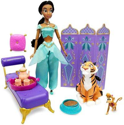 Набор: кукла Жасмин во дворце с фигуркой Раджи - «Аладдин» - Дисней (Disney Jasmine Classic Doll Palace Lounge Play Set – Aladdin) (фото, вид 1)