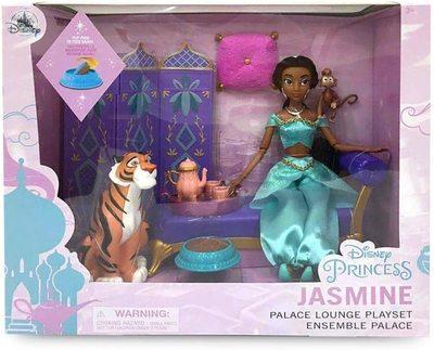 Набор: кукла Жасмин во дворце с фигуркой Раджи - «Аладдин» - Дисней (Disney Jasmine Classic Doll Palace Lounge Play Set – Aladdin) (фото, вид 2)