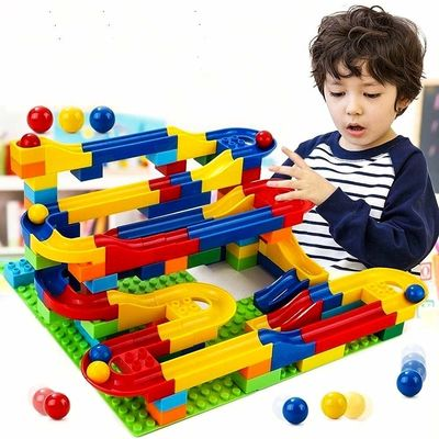 Конструктор детский (Hoyo Marble Run Coaster with Building Blocks and Race Marbles Set, Marble Game Race Railway Track Construction Learning Educational Toys, Endless Fun Kit (47pcs)) (фото)