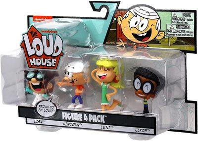 Набор фигурок из серии «Мой шумный дом». 4 шт. в упаковке - Линкольн, Клайда, Лиза, Лени. (The Loud House Figure 4 Pack - Lincoln, Clyde, Lisa, Leni - Action Figure) (фото)