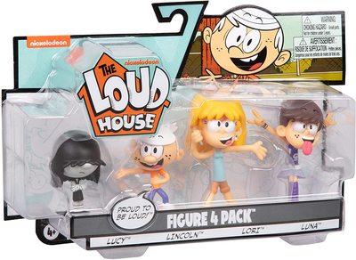 Набор фигурок из серии «Мой шумный дом». 4 шт. в упаковке - Линкольн, Лори, Люси, Луна. (The Loud House Figure 4 Pack - Lincoln, Lori, Lucy, Luna - Action Figure) (фото)