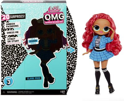 Кукла ЛОЛ O.М.G. 3 серия, Стильная Класс През, с 20 сюрпризами (LOL O.M.G. Series 3 Class Prez Fashion Doll) (фото)