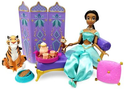 Набор: кукла Жасмин во дворце с фигуркой Раджи - «Аладдин» - Дисней (Disney Jasmine Classic Doll Palace Lounge Play Set – Aladdin) (фото)