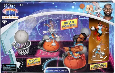 Набор для игры в Данк с фигурой Леброна Джеймс из серии «Космический джэм - Новое Наследие». (SPACE JAM: A New Legacy - Super Shoot & Dunk Playset with Lebron Figure) (фото)
