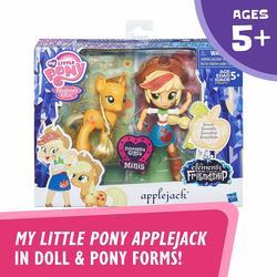 Набор Эпплджек - пони и мини кукла Девушки Эквестрии Эпплджек (My Little Pony Applejack Toys - Glitter Pony & Equestria Girls Doll)